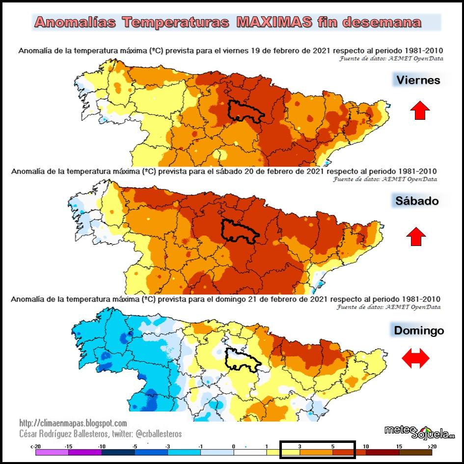 Anomalías Termicas Temperaturas Maximas. Cesar. Meteosojuela