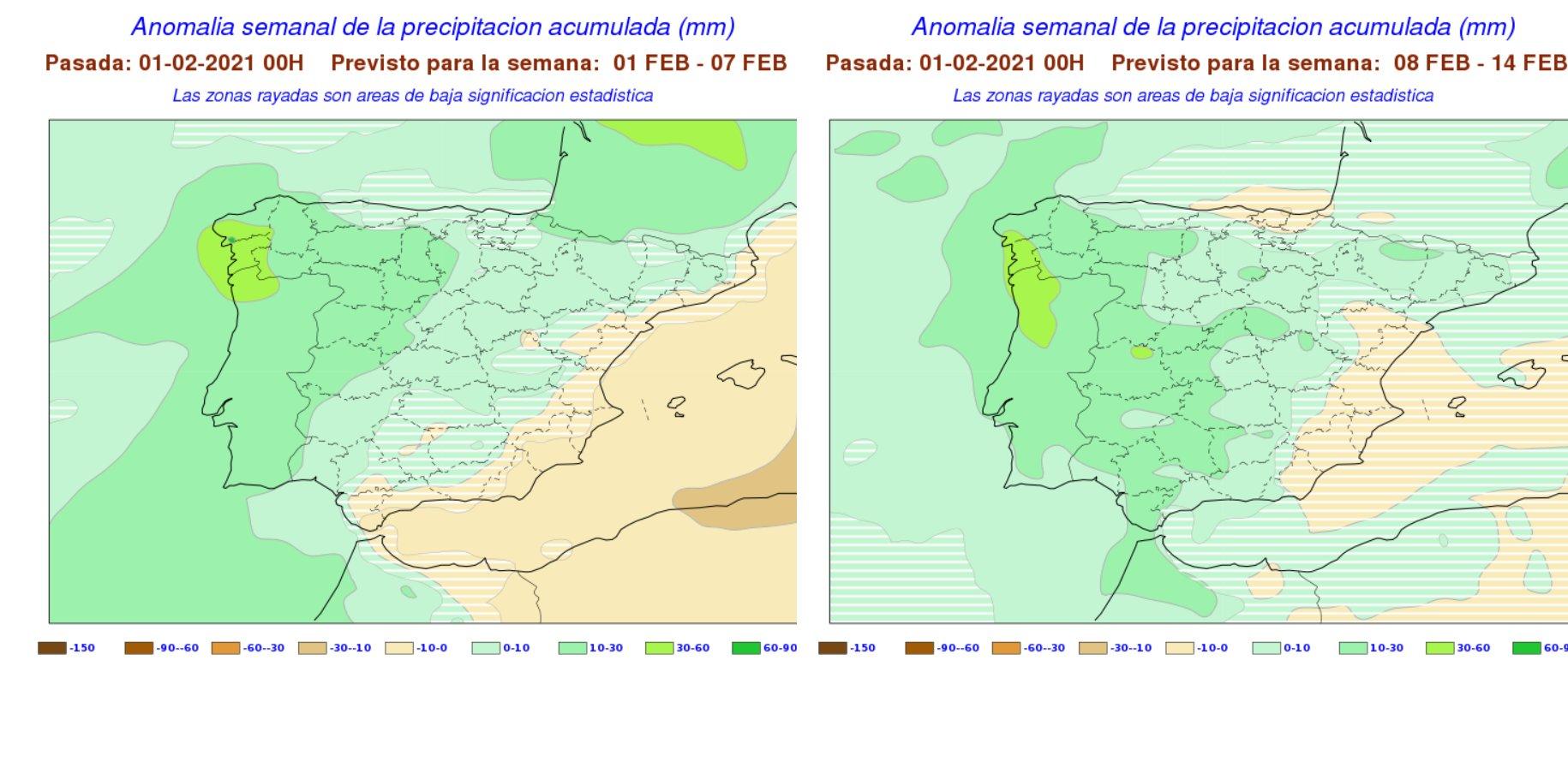 Anomalías semanales precipitación Febrero. 1 y 2 semana. Meteosojuela