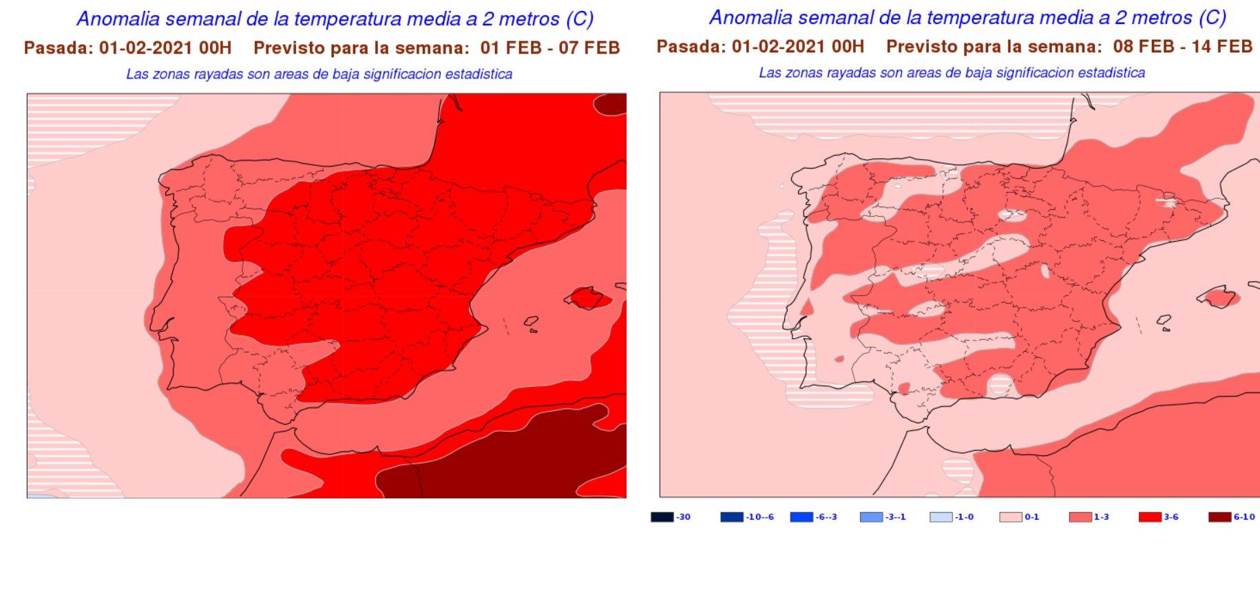 Anomalías semanales temperatura Febrero. 1 y 2 semana. Meteosojuela