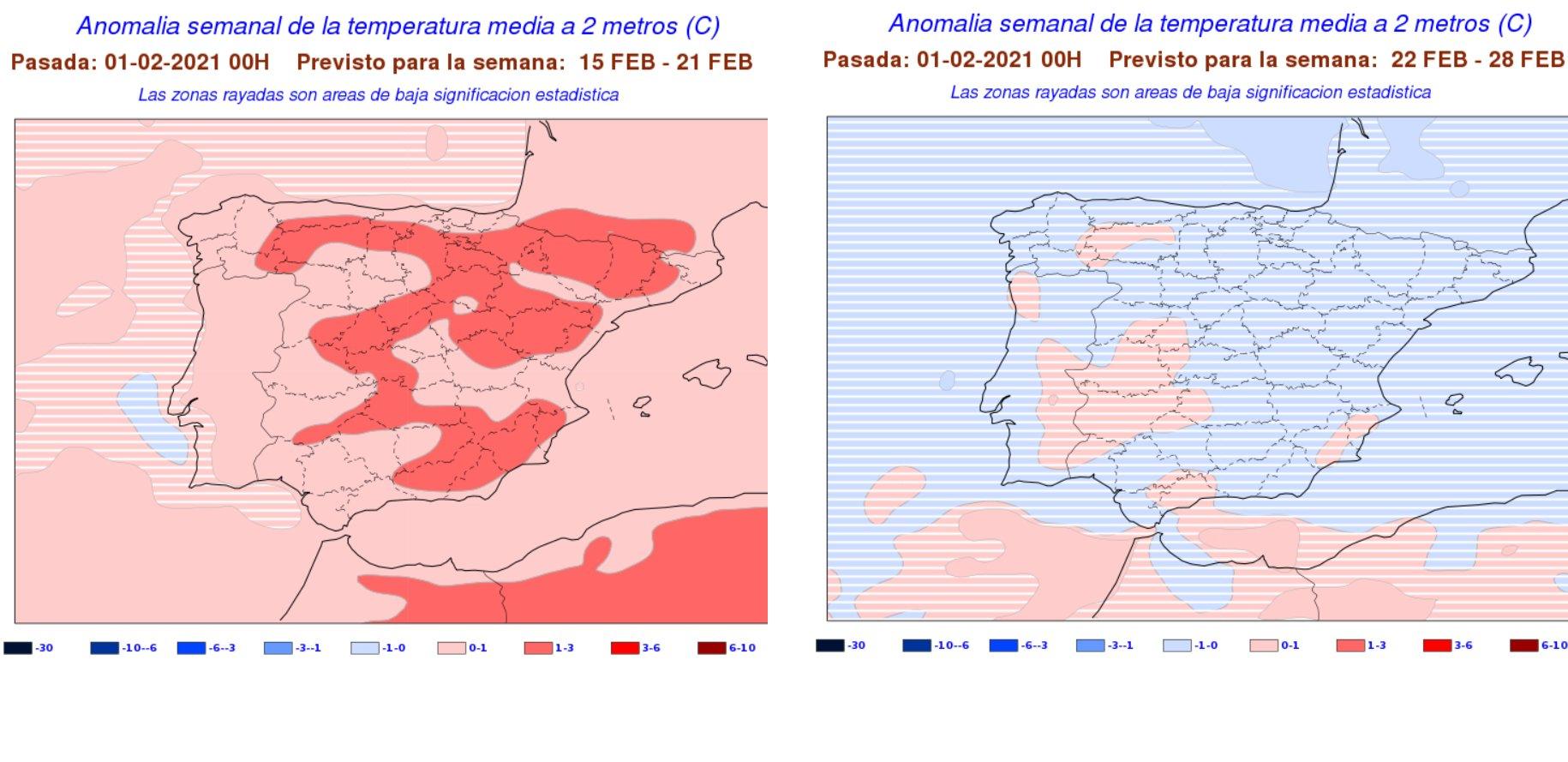 Anomalías semanales temperatura Febrero. 3 y 4 semana. Meteosojuela