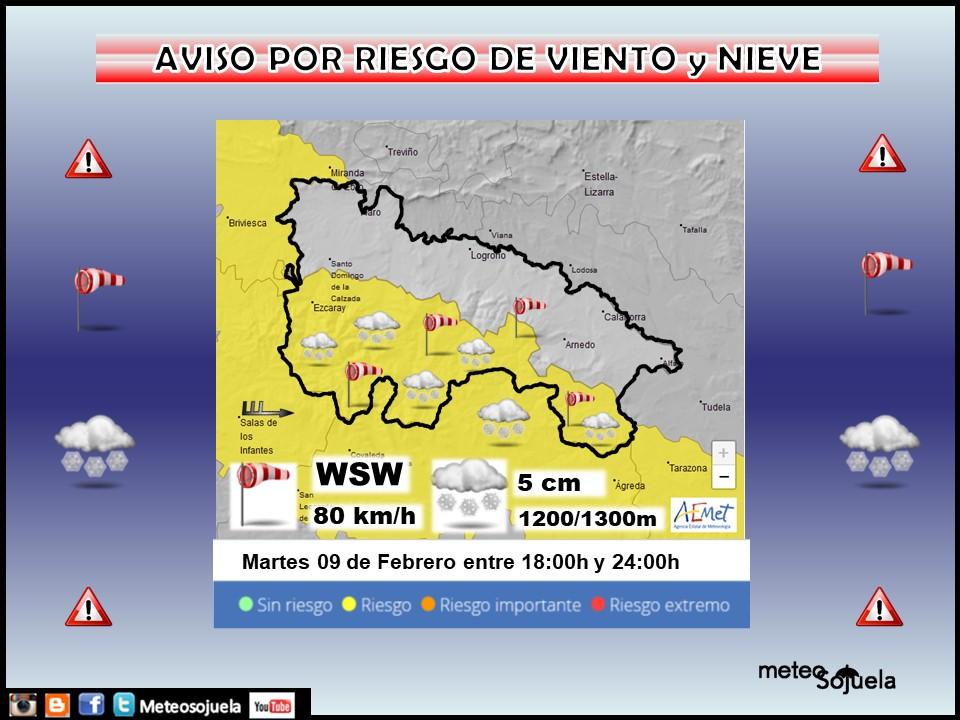 Aviso Amarillo por Nieve y Viento. AEMET. Meteosojuela