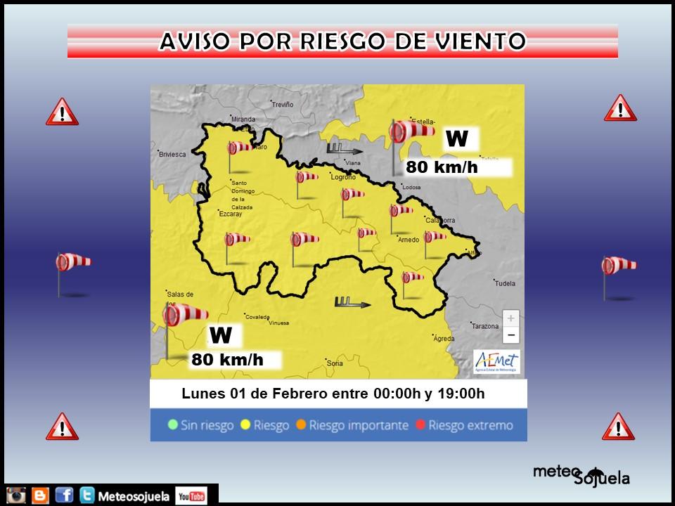 Avisos Amarillos por Viento. AEMET 01 Meteosojuela