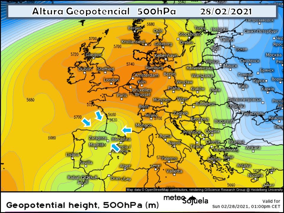 Modelos de Altura de Geopotencial a 500hPa GFS Europa. Meteosojuela La Rioja