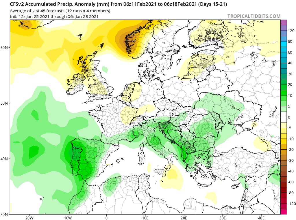 Modelos de Precipitación semanal Febrero GFS 3ª Semana .Meteosojuela La Rioja