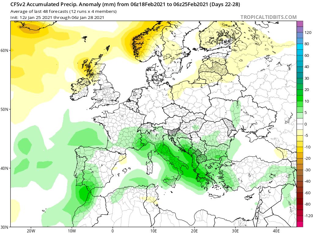 Modelos de Precipitación semanal Febrero GFS 4ª Semana .Meteosojuela La Rioja