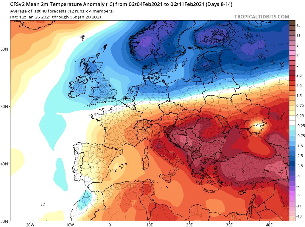 Modelos de Temperatura semanal Enero GFS 2ª Semana .Meteosojuela La Rioja