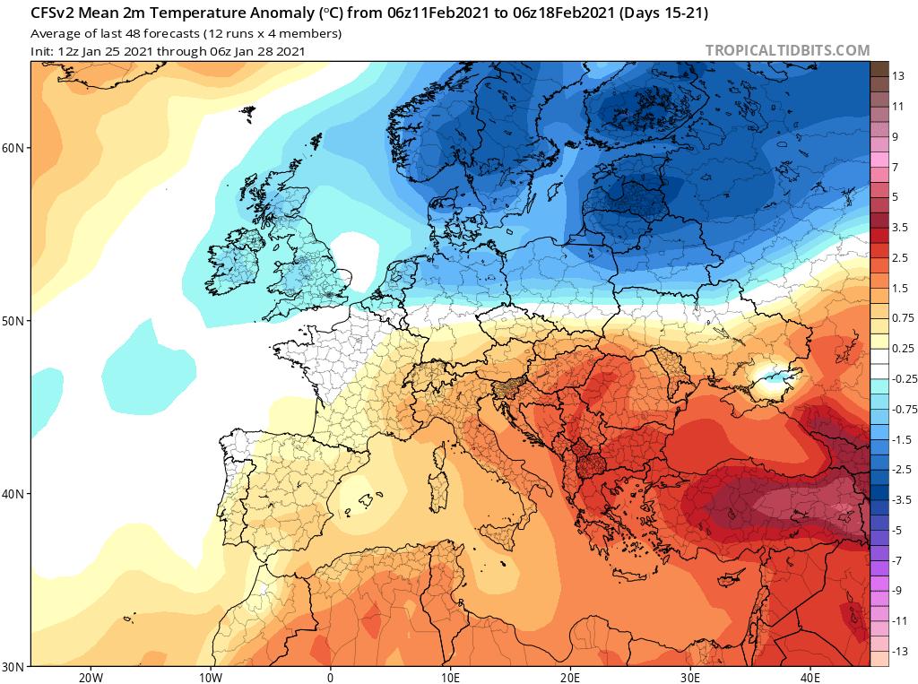 Modelos de Temperatura semanal Enero GFS 3ª Semana .Meteosojuela La Rioja