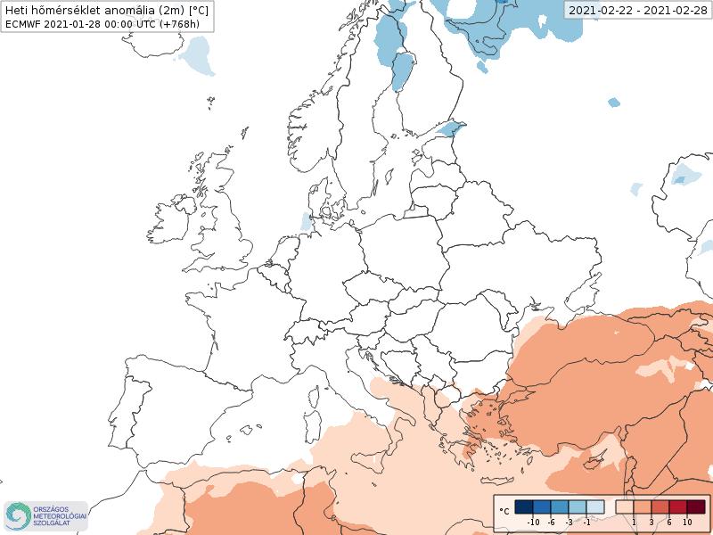 Modelos de Temperatura semanal Febrero ECMWF 4ª Semana .Meteosojuela La Rioja