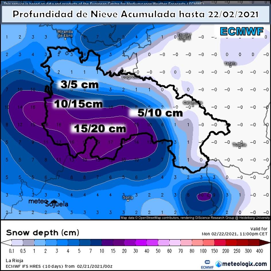Nieve acumulada modelo ECMWF. Meteosojuela
