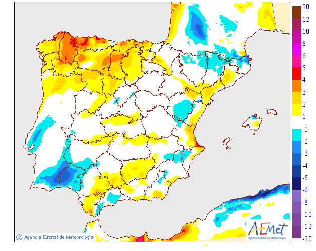 Variación de temperaturas máximas AEMET. 19 Meteosojuela