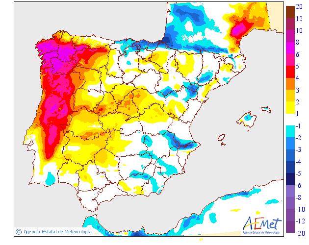 Variación de temperaturas máximas AEMET. 26 Meteosojuela