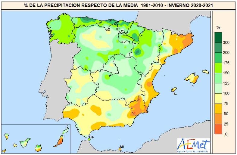 Anomalía Precipitación Invierno 2020 21 AEMET Meteosojuela