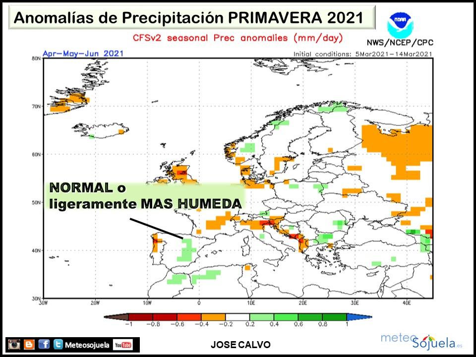 Anomalía Precipitación Primavera. AEMET. Meteosojuela