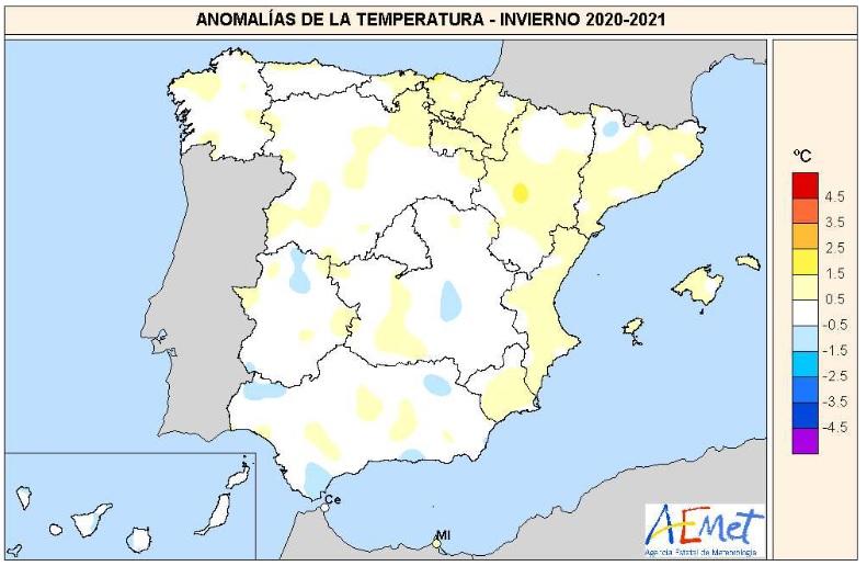 Anomalía Temperaturas Invierno 2021. Meteosojuela