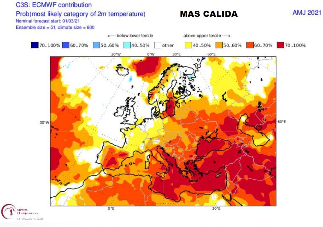 Anomalía Temperaturas Primavera 2021. Meteosojuela