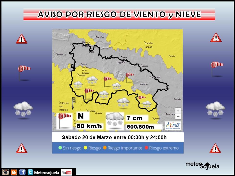 Aviso Amarillo por Viento y Nieve. AEMET. Meteosojuela