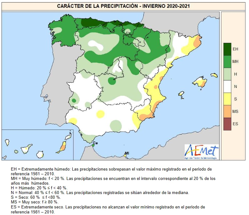 Caracter de la Precipitación Invierno 2020 21. Meteosojuela.