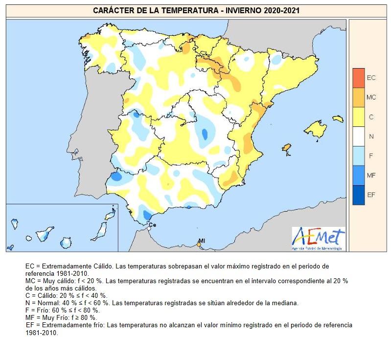 Caracter de la Temperatura Invierno 2020 21. Meteosojuela.