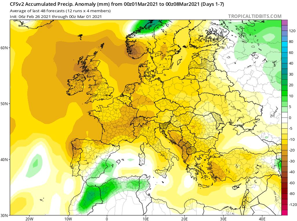 Modelos de Precipitación semanal Marzo GFS 1ª Semana .Meteosojuela La Rioja