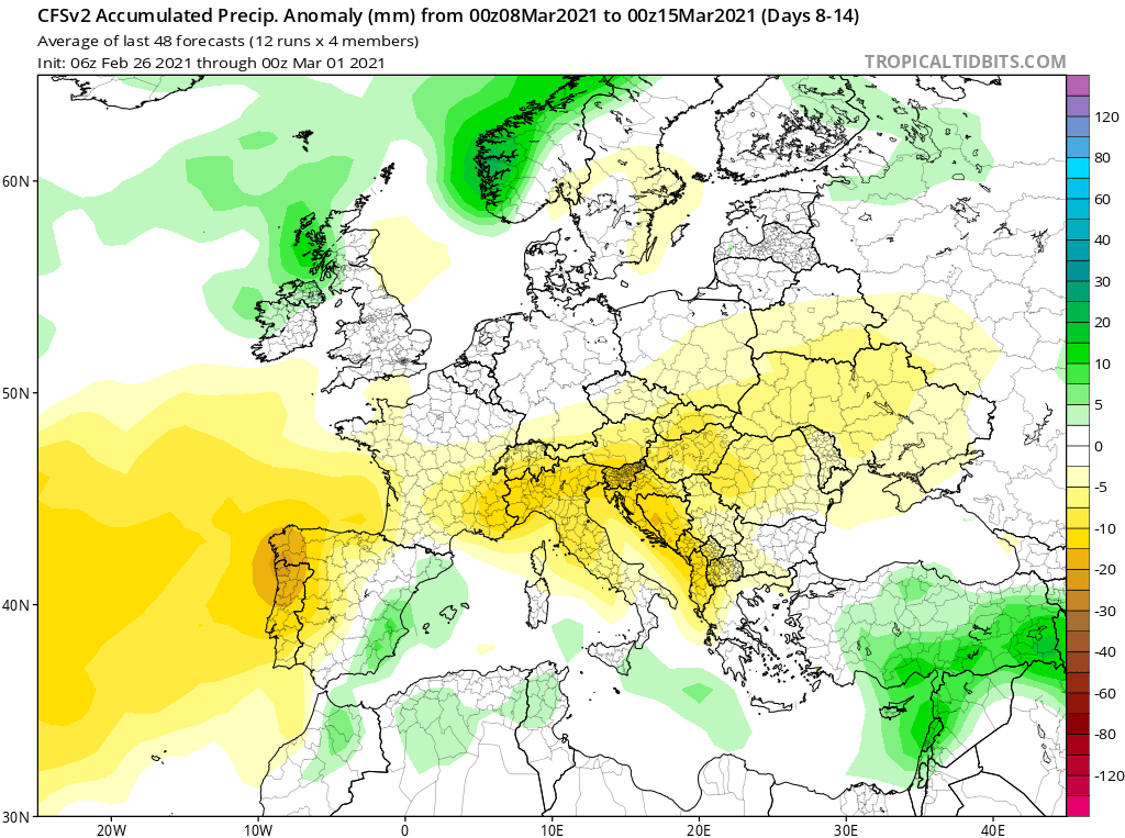 Modelos de Precipitación semanal Marzo GFS 2ª Semana .Meteosojuela La Rioja