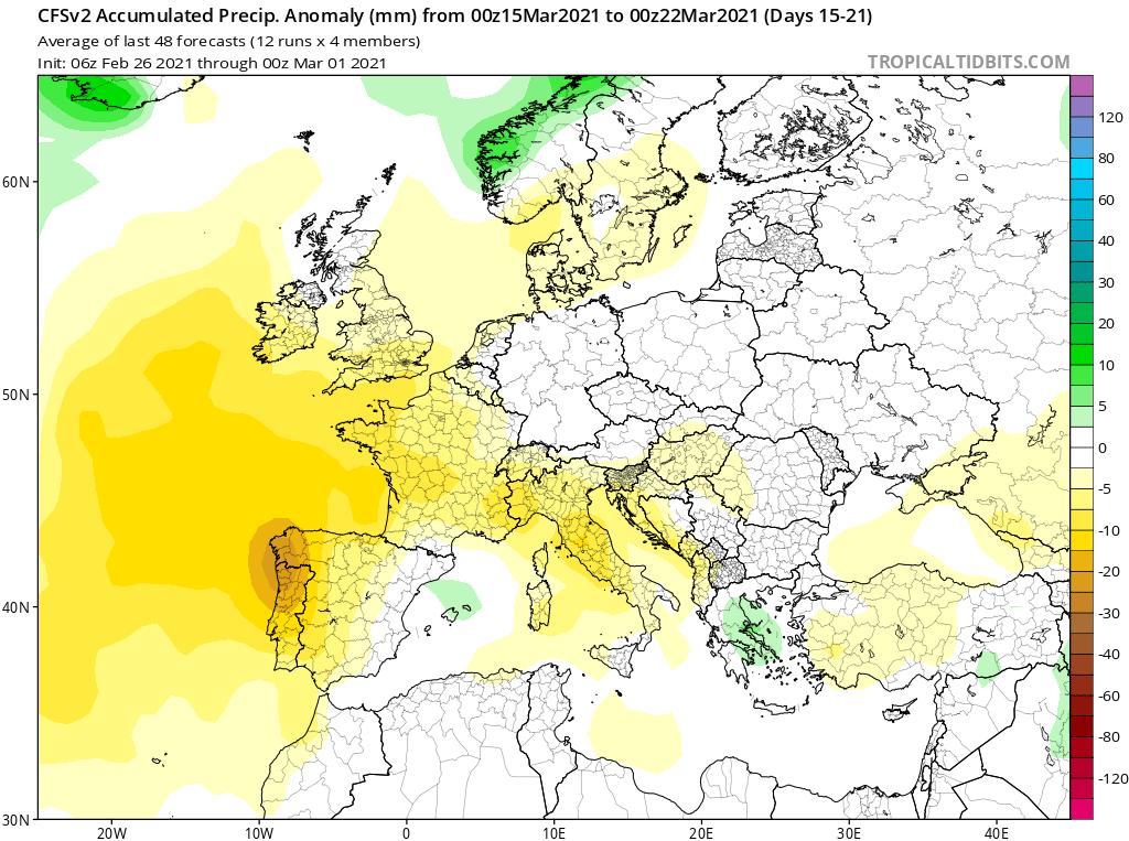 Modelos de Precipitación semanal Marzo GFS 3ª Semana .Meteosojuela La Rioja