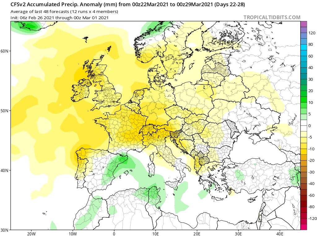 Modelos de Precipitación semanal Marzo GFS 4ª Semana .Meteosojuela La Rioja