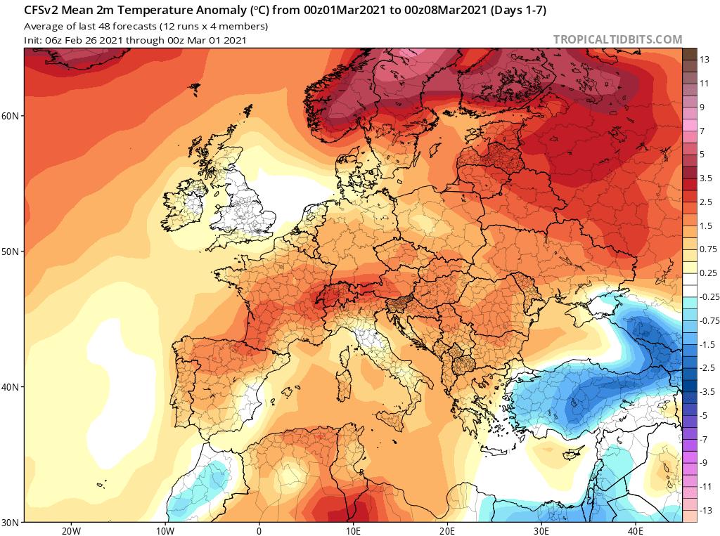 Modelos de Temperatura semanal Marzo GFS 1ª Semana .Meteosojuela La Rioja