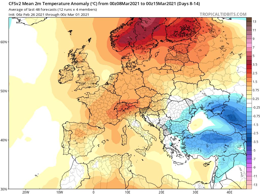 Modelos de Temperatura semanal Marzo GFS 2ª Semana .Meteosojuela La Rioja