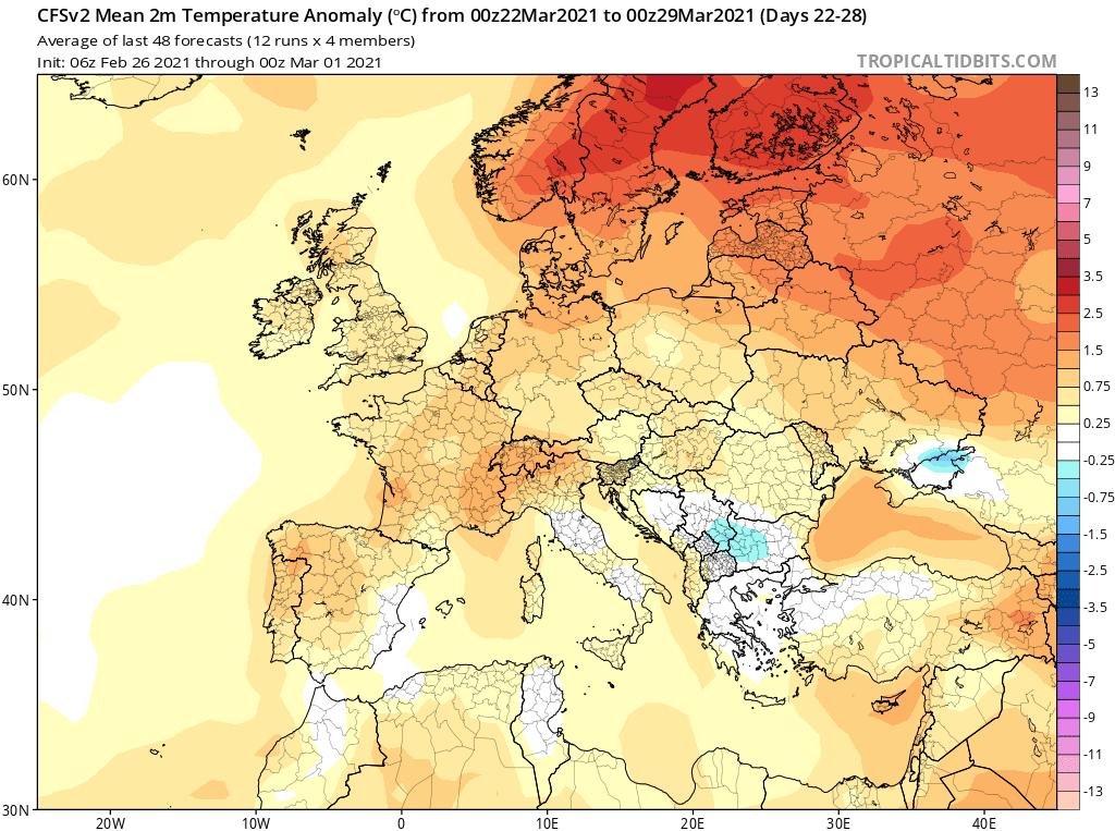 Modelos de Temperatura semanal Marzo GFS 4ª Semana .Meteosojuela La Rioja
