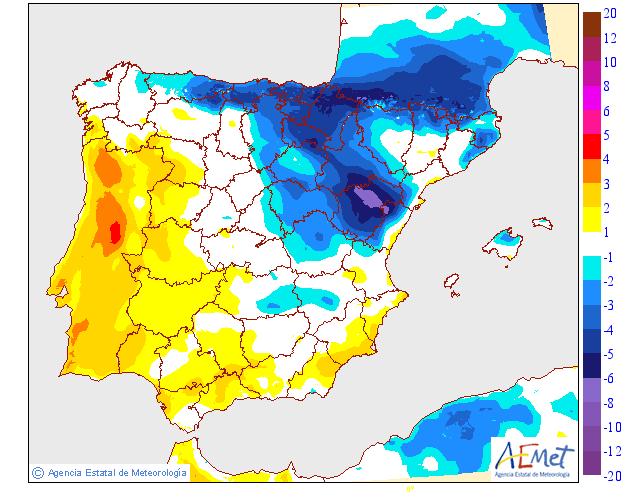 Variación de temperaturas máximas AEMET. 14 Meteosojuela