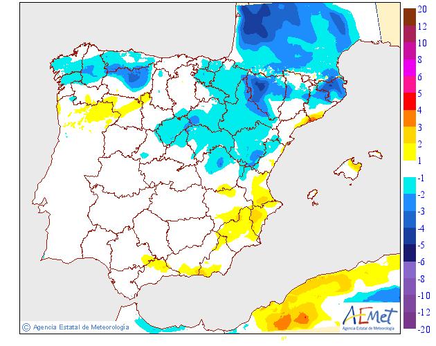 Variación de temperaturas máximas AEMET. 17 Meteosojuela