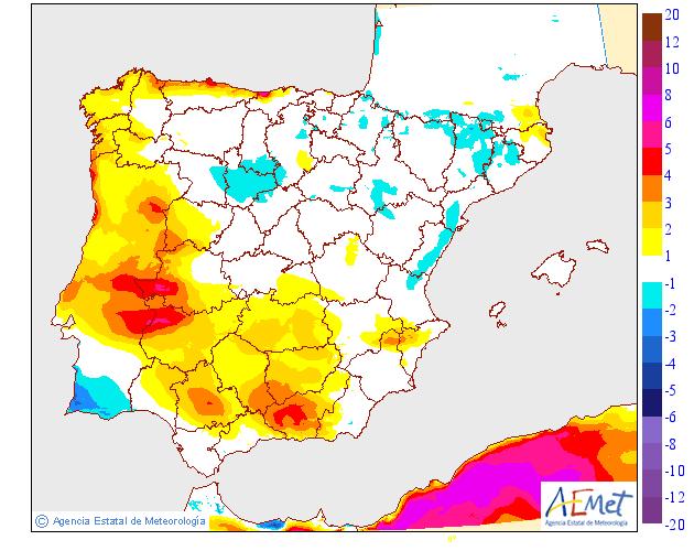 Variación de temperaturas máximas AEMET.31 Meteosojuela
