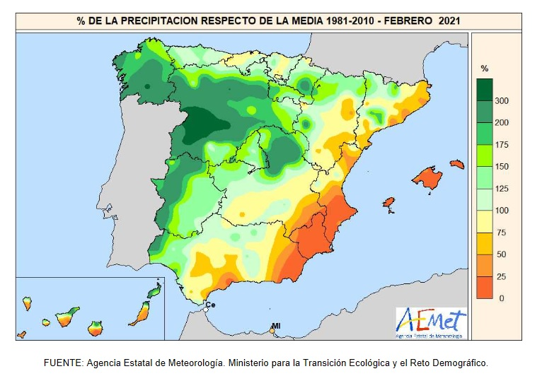 Anomalía Precipitación Febrero 2021. AEMET. Meteosojuela
