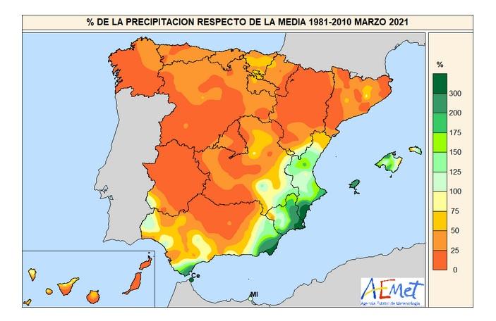 Anomalía Precipitación Marzo 2021 AMET. Meteosojuela