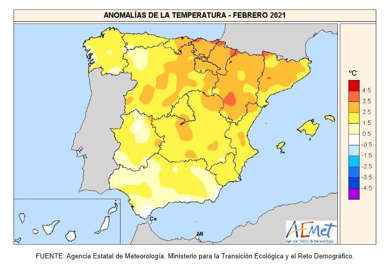 Anomalía Temperaturas Febrero 2021. AEMET. Meteosojuela
