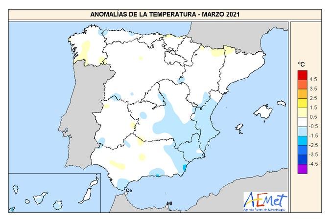 Anomalía Temperaturas Marzo 2021 AMET. Meteosojuela