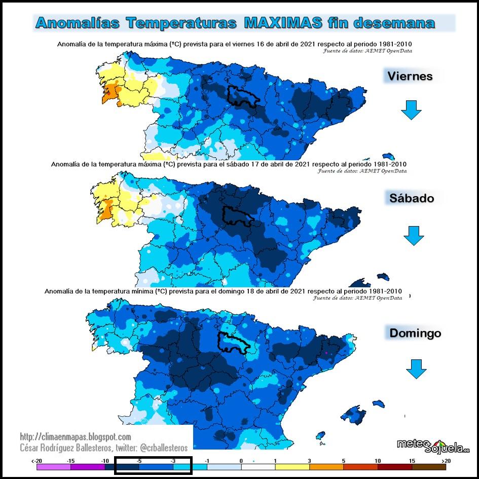 Anomalía de Temperaturas Máximas. Cesar. Meteosojuela