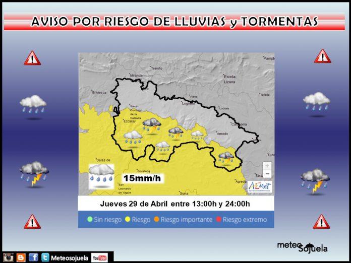 Aviso Amarillo por LLuvia y Tormentas. AEMET. Meteosojuela
