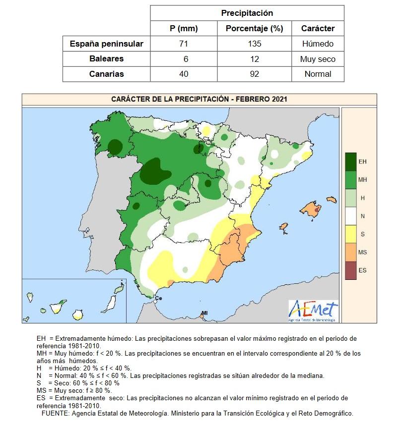 Caracter de la Precipitación Febrero 2021