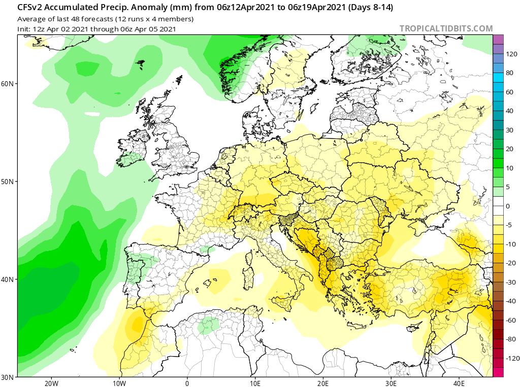 Modelos de Precipitación semanal Abril GFS 2ª Semana .Meteosojuela La Rioja