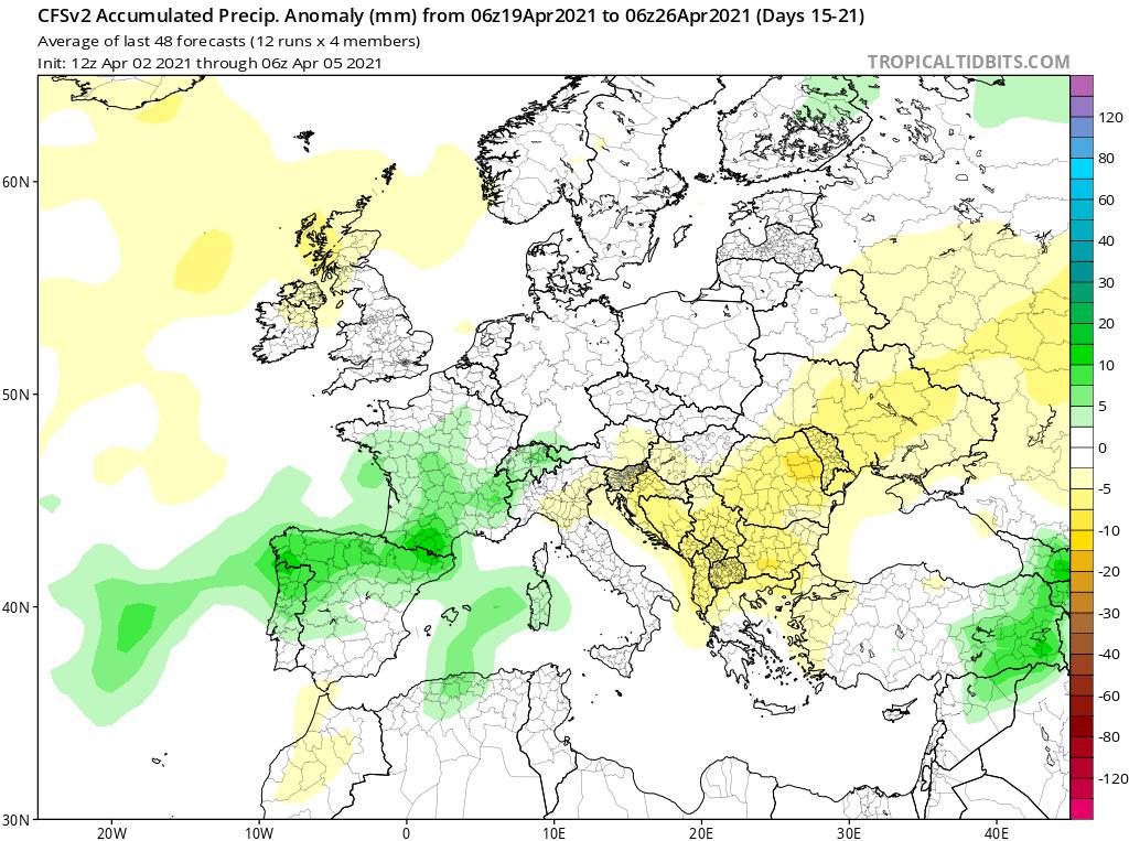 Modelos de Precipitación semanal Abril GFS 3ª Semana .Meteosojuela La Rioja