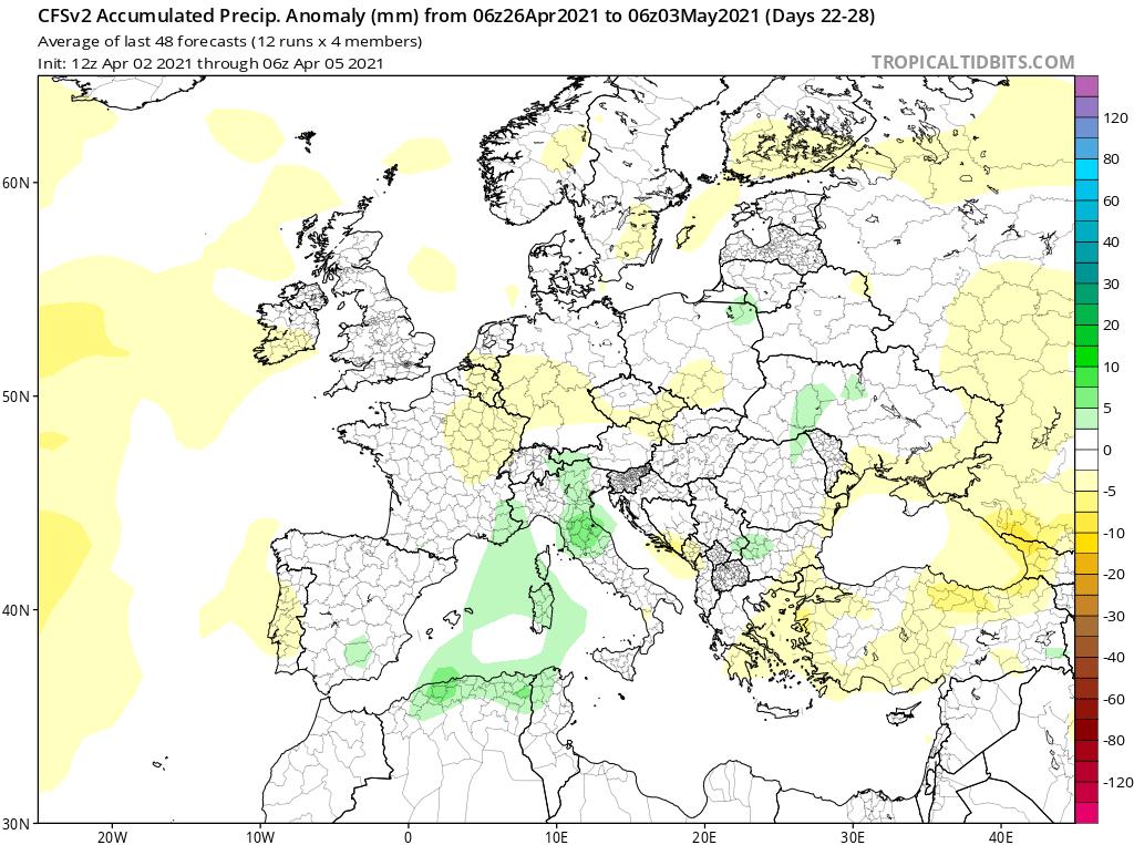 Modelos de Precipitación semanal Abril GFS 4ª Semana .Meteosojuela La Rioja