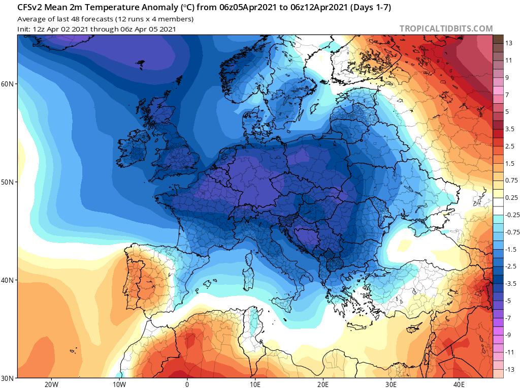 Modelos de Temperatura semanal Abril GFS 1ª Semana .Meteosojuela La Rioja