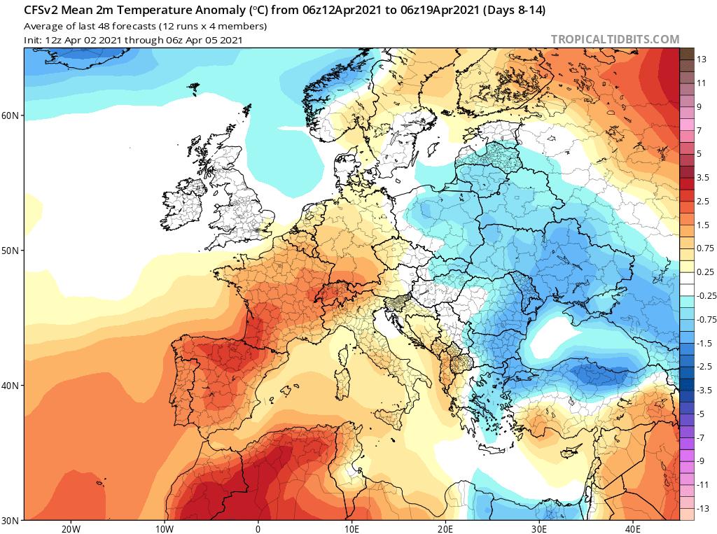 Modelos de Temperatura semanal Abril GFS 2ª Semana .Meteosojuela La Rioja