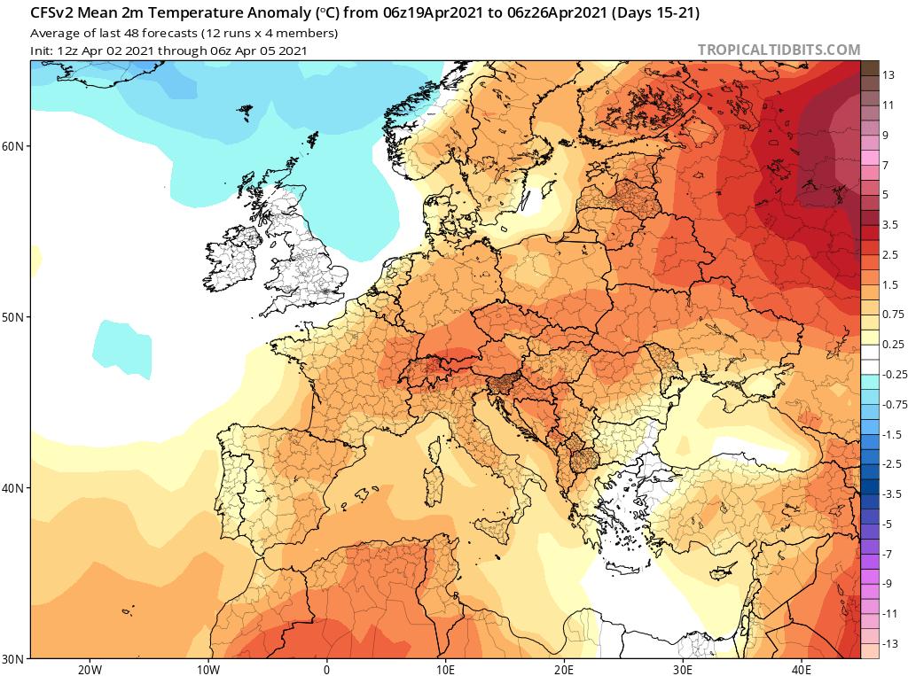 Modelos de Temperatura semanal Abril GFS 3ª Semana .Meteosojuela La Rioja