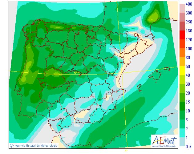 Probabilidad de precipitación según AEMET. 10 Meteosojuela La Rioja