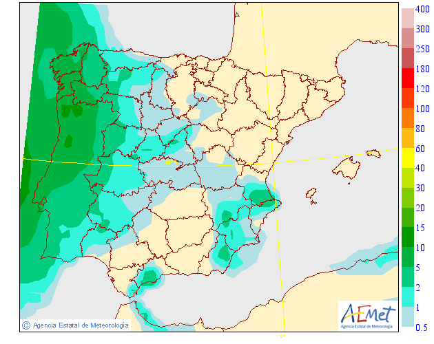 Probabilidad de precipitación según AEMET. 23 Meteosojuela La Rioja