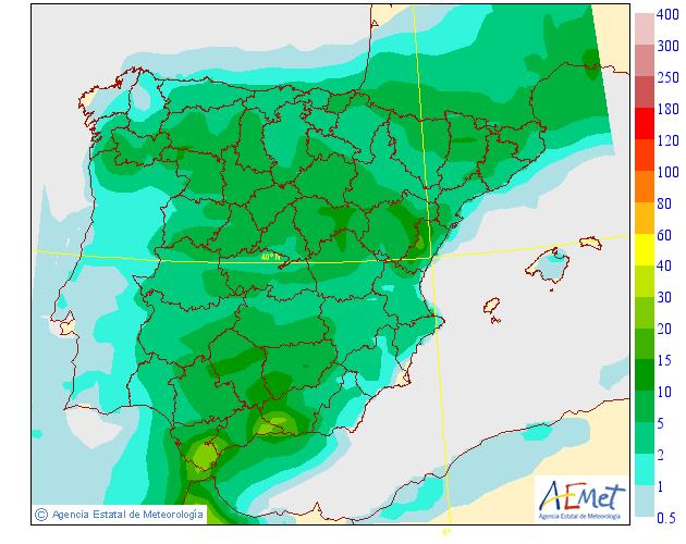 Probabilidad de precipitación según AEMET. 27 Meteosojuela La Rioja