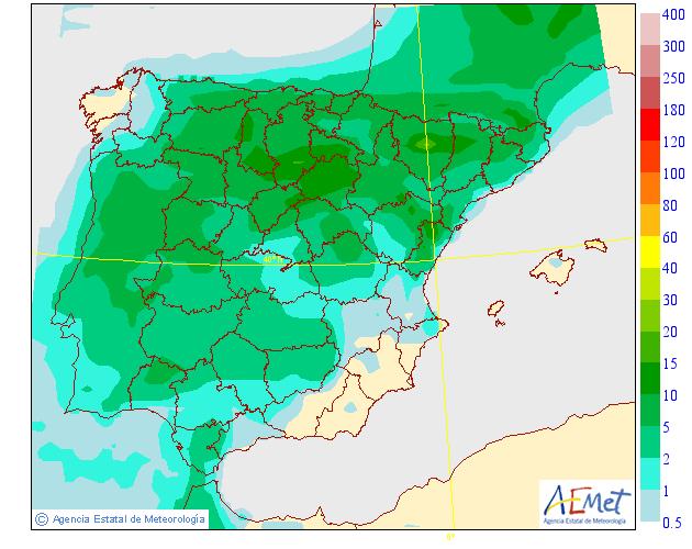 Probabilidad de precipitación según AEMET. 29 Meteosojuela La Rioja