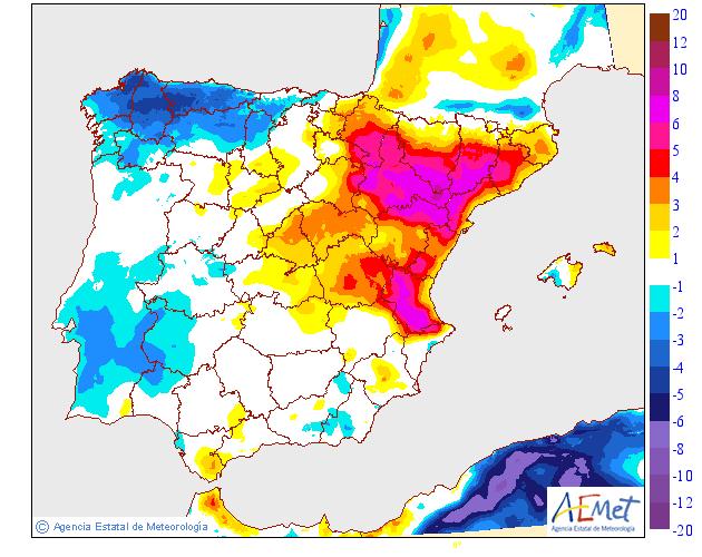 Variación de temperaturas máximas AEMET. 10 Meteosojuela